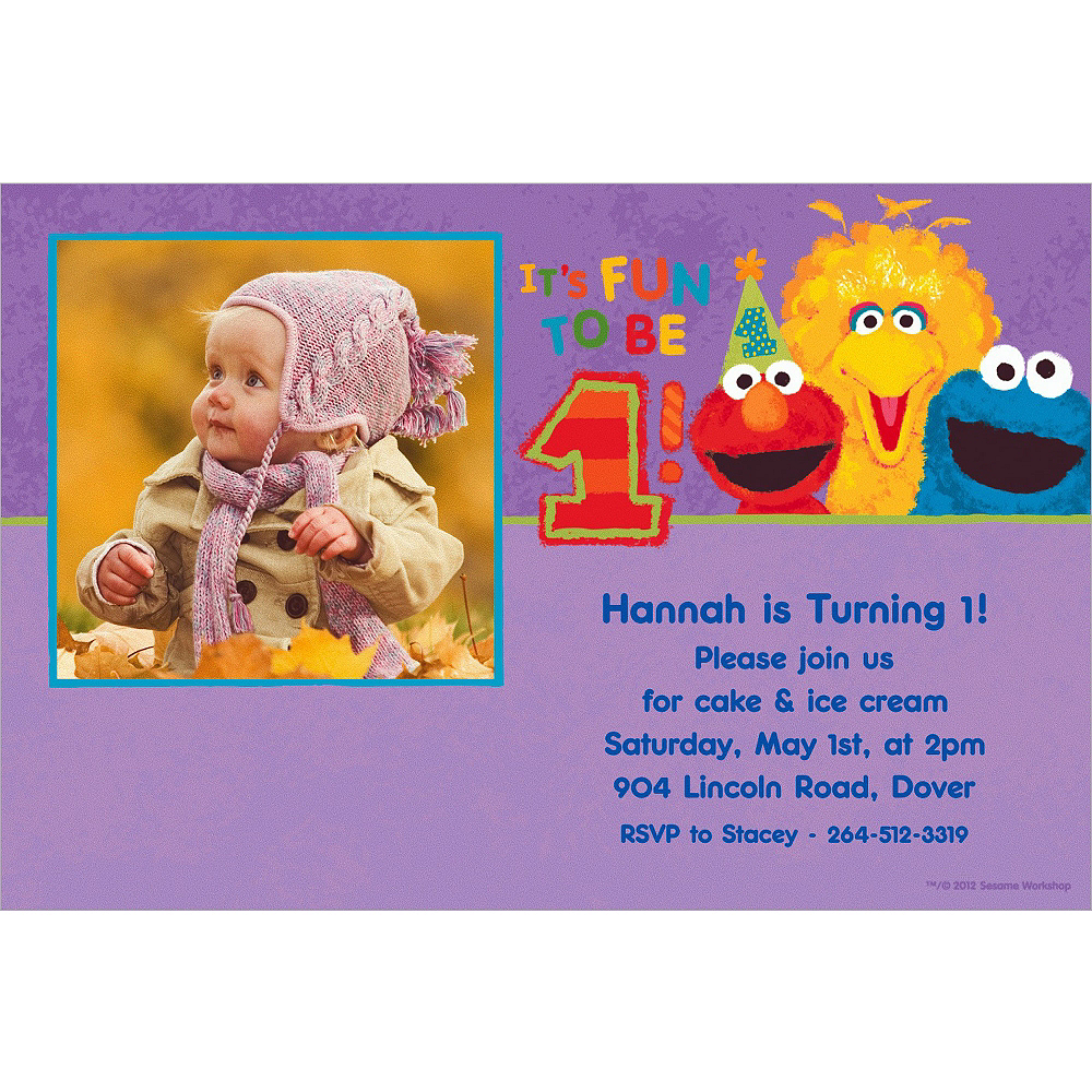 Custom Sesame 1st Birthday Photo Invitations Image #1