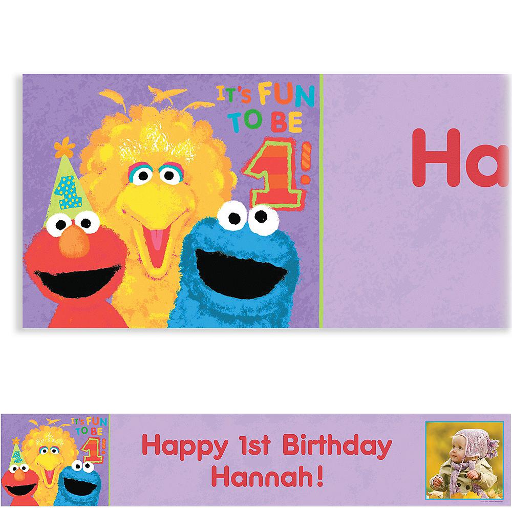 Custom Sesame 1st Birthday Photo Banner 6ft | Party City