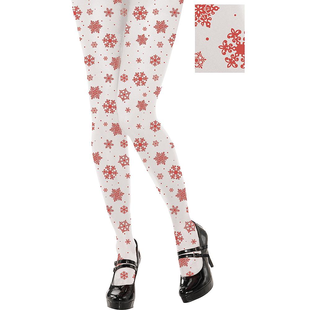 Red Snowflake Pantyhose Image #1