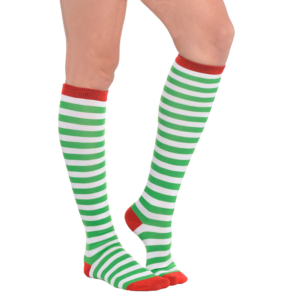 Green & White Striped Knee Socks Image #1