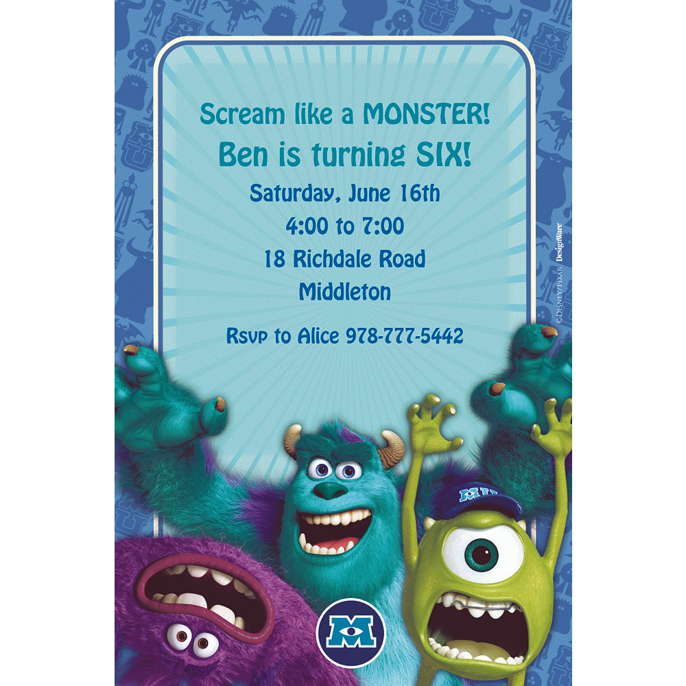 Custom Monsters University Invitations Image #1