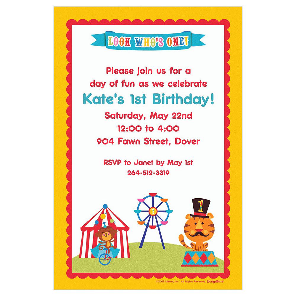 Custom Fisher Price 1st Birthday Invitations Image #1