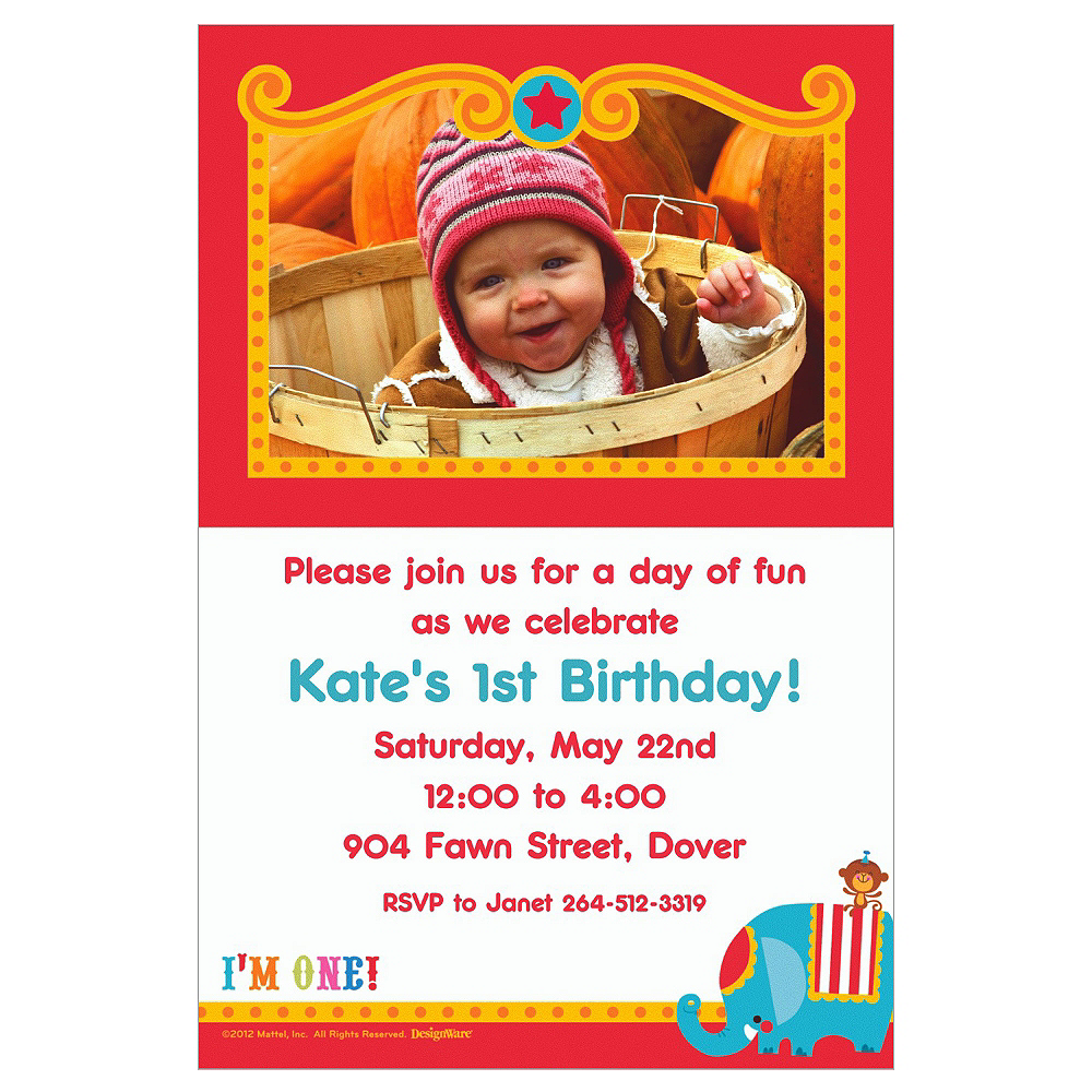 Custom Fisher Price 1st Birthday Photo Invitations Image #1