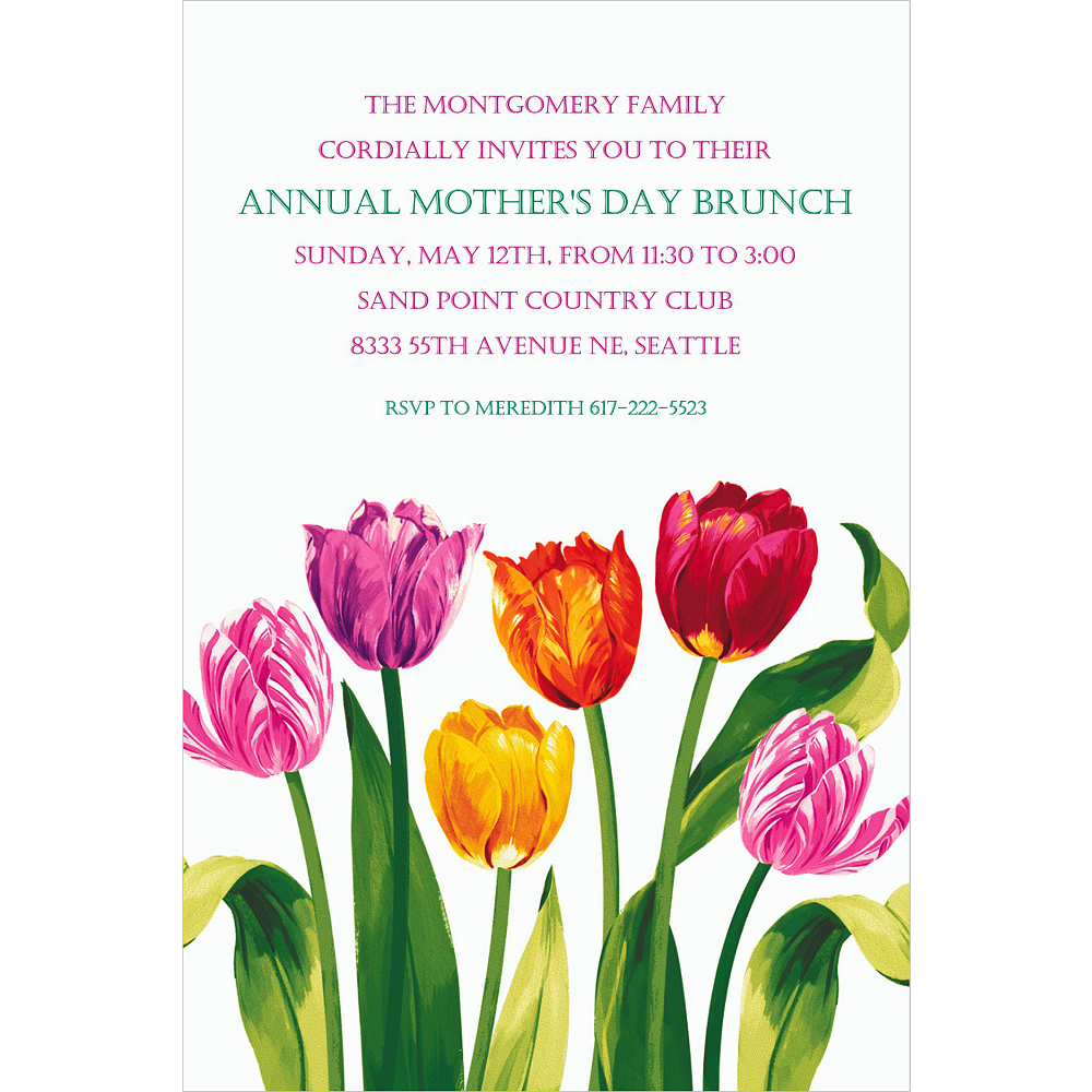 Custom Spring Tulips Invitations  Image #1