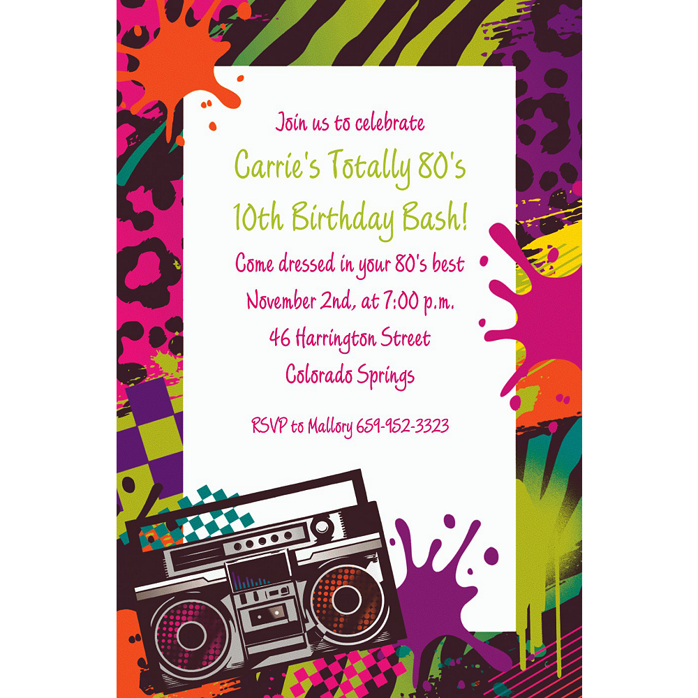 Custom Totally 80s Invitations Image #1
