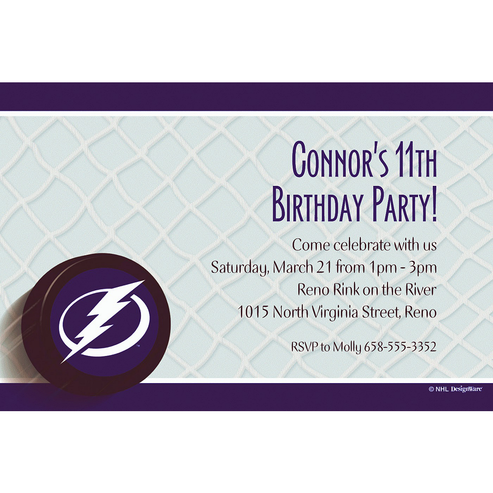 Custom Tampa Bay Lightning Invitations Image #1