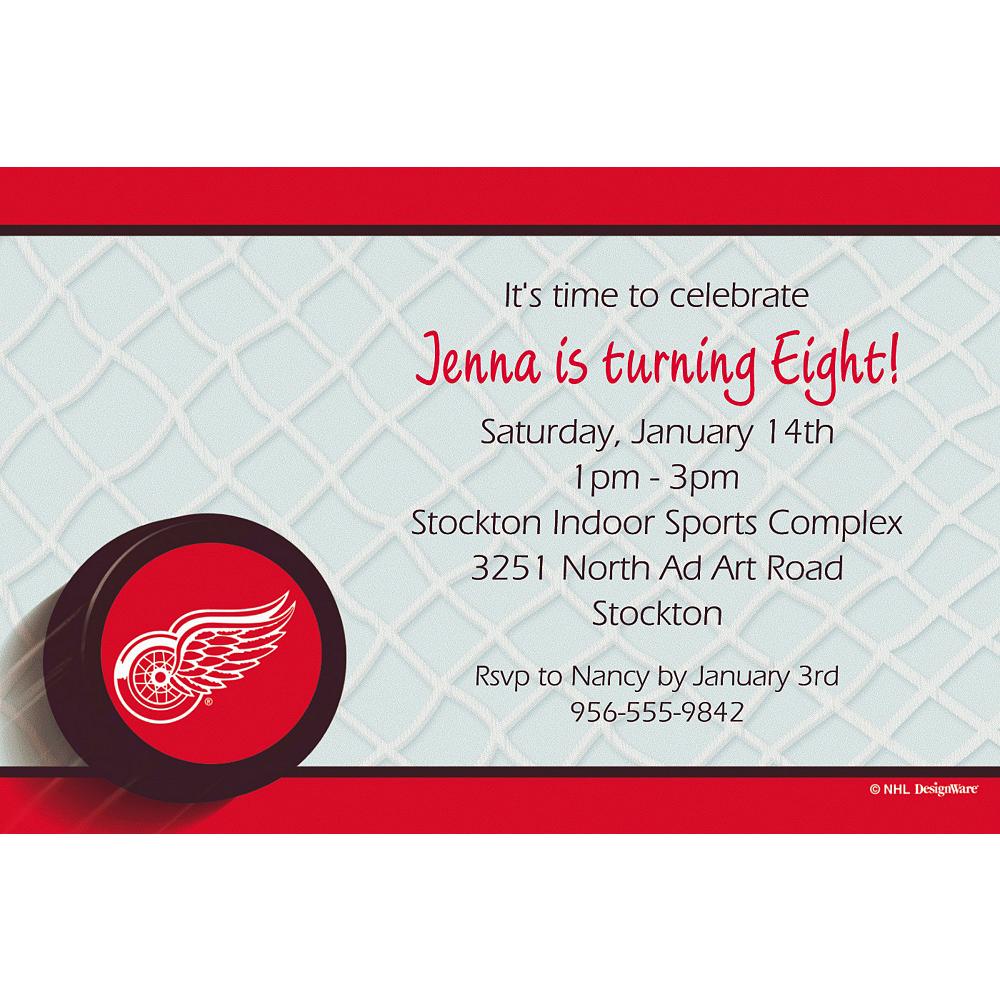 Custom Detroit Red Wings Invitations Image #1