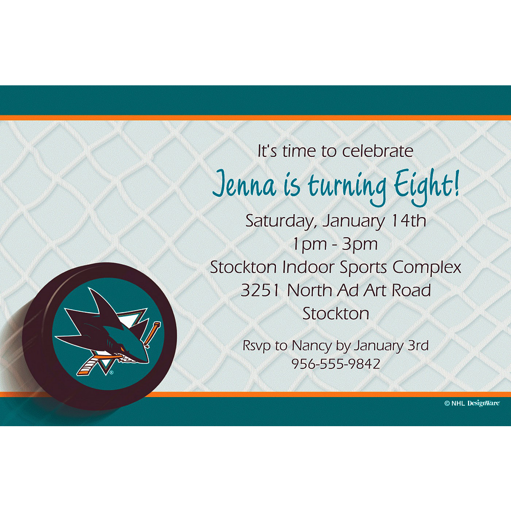 Custom San Jose Sharks Invitations Image #1