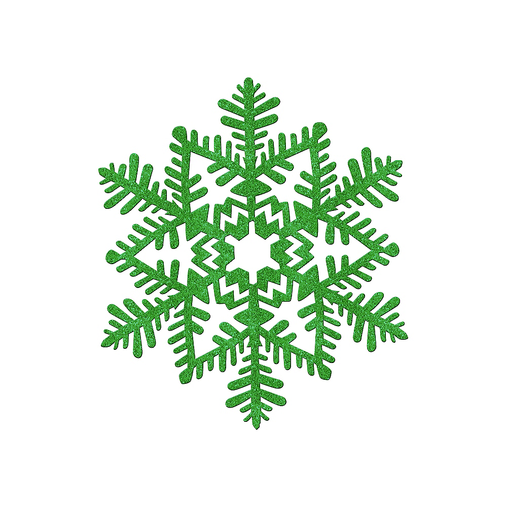 Glitter Green Snowflake 6 1 2in Party City