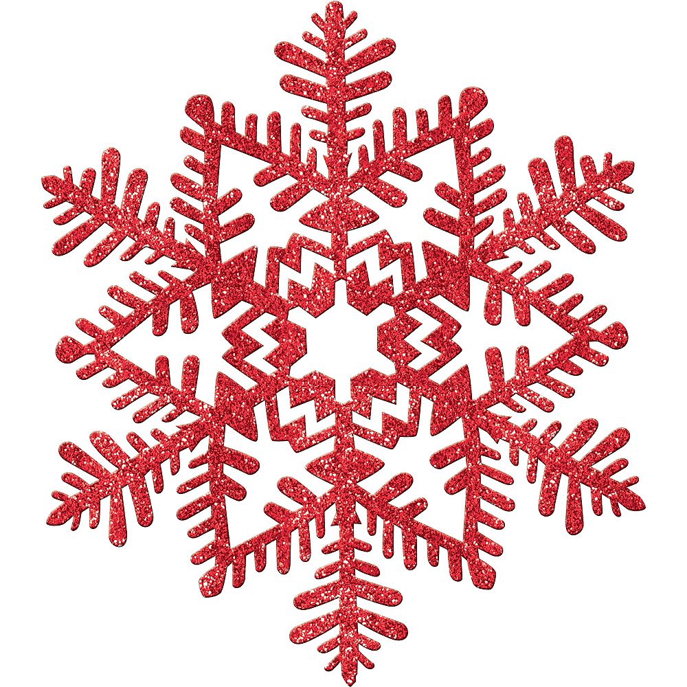 Glitter Red Snowflake Image #1