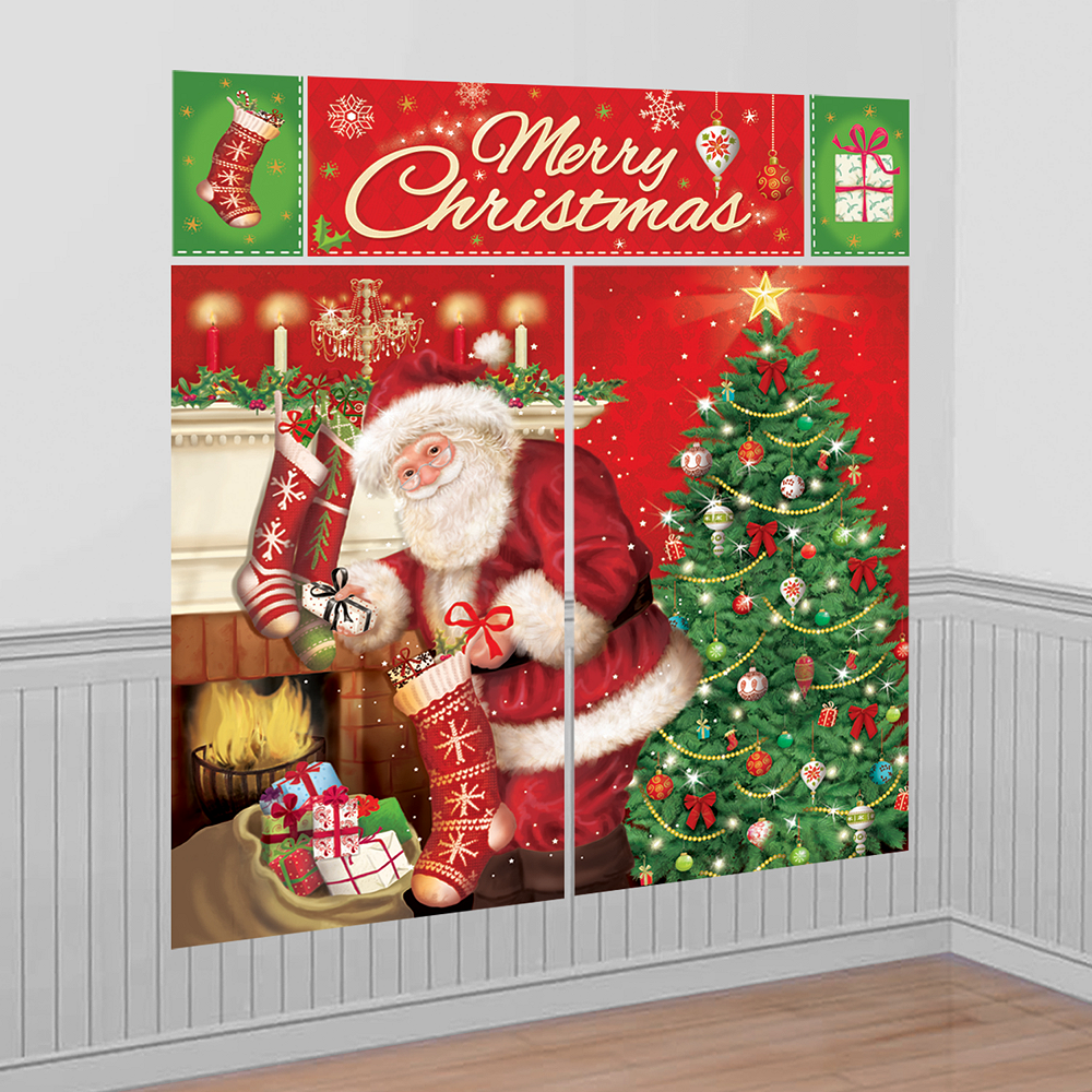 Party City Christmas Cebary: Santa Claus Scene Setter 65in X 75in