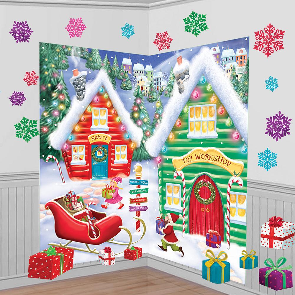 Christmas Scene Setters Party City Decorations: Santa's Workshop Scene Setter Kit