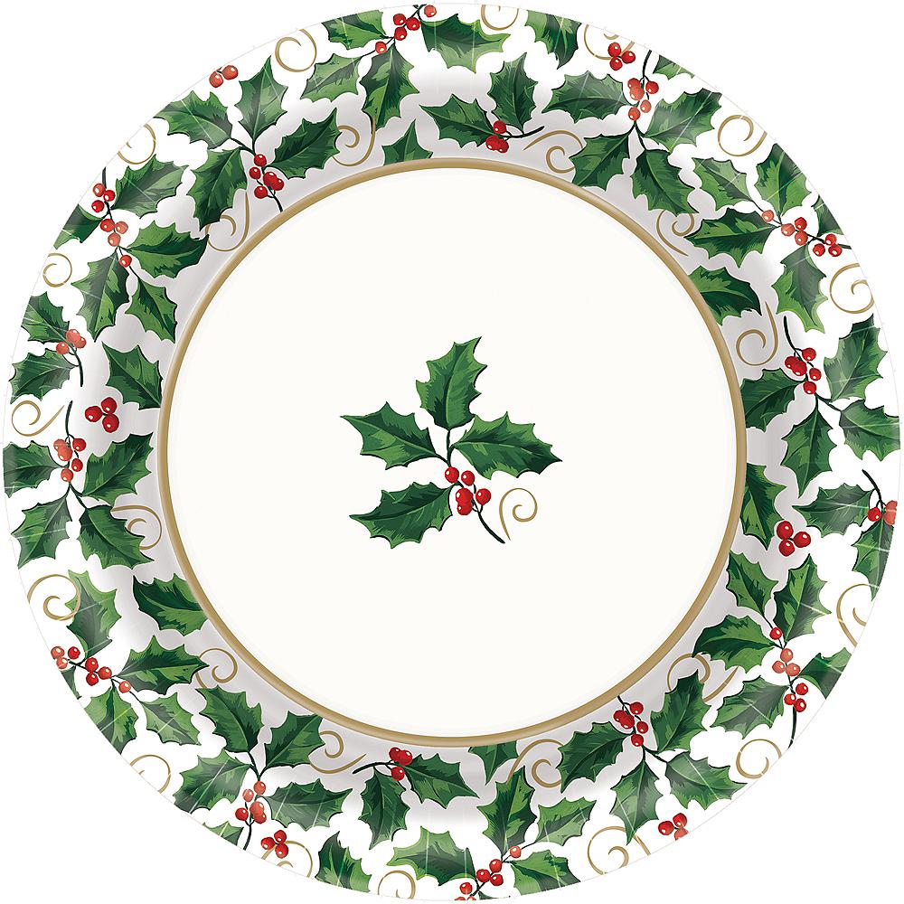 Seasonal Holly Dinner Plates 40ct Image #1