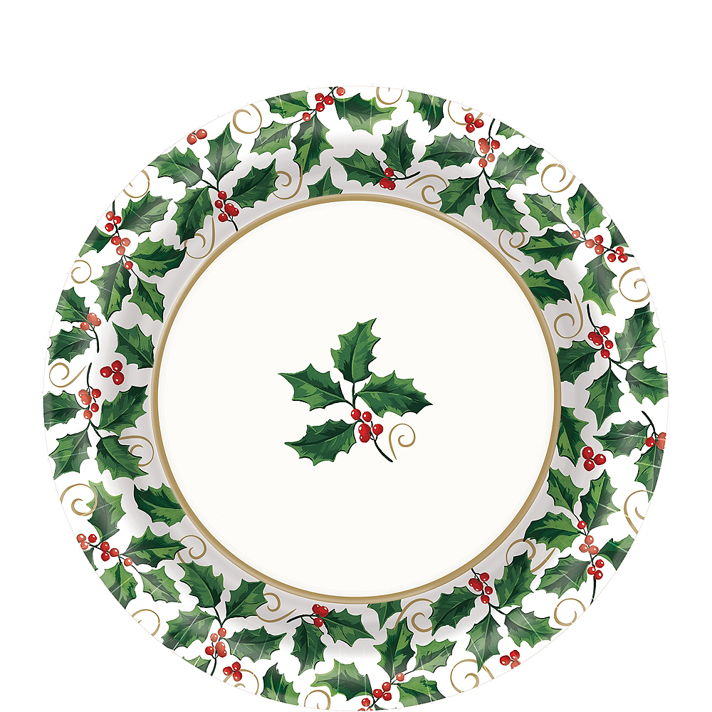 Seasonal Holly Lunch Plates 40ct Image #1