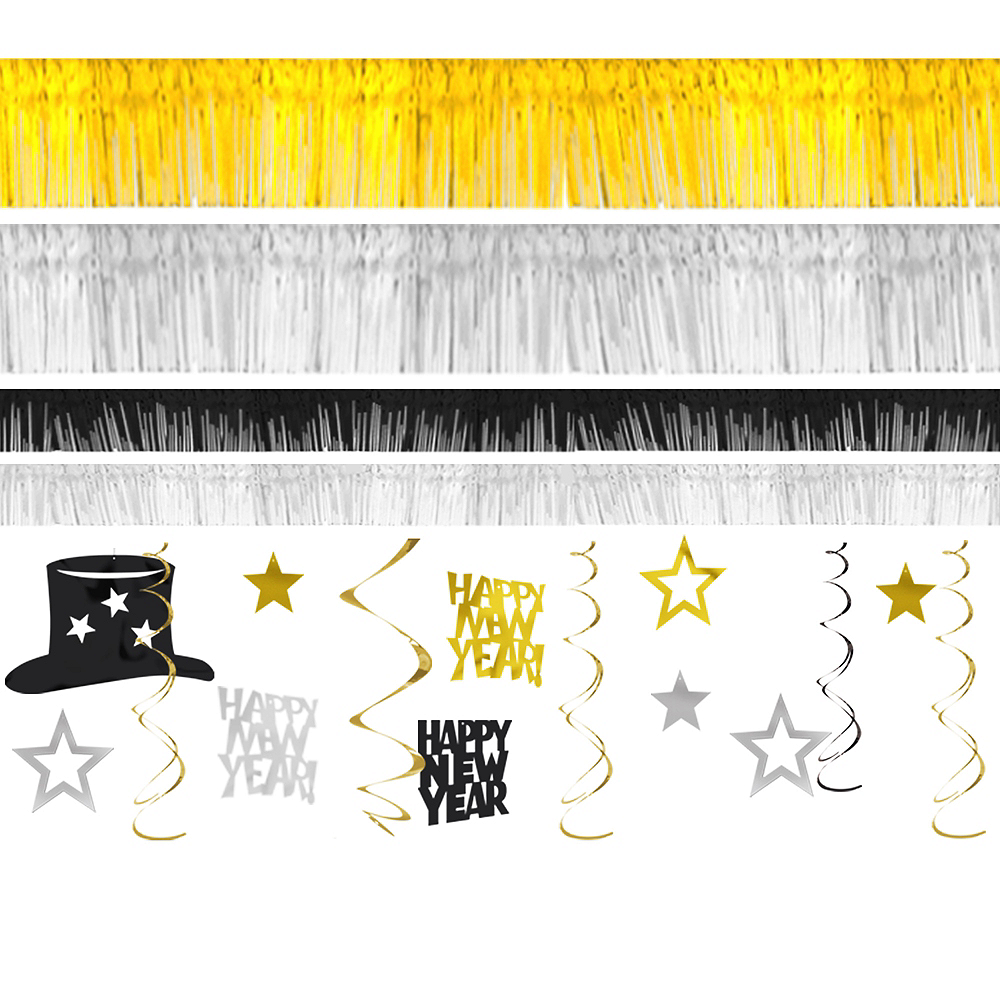 Black, Silver & Gold New Year's Room Decorating Kit 28pc Image #1