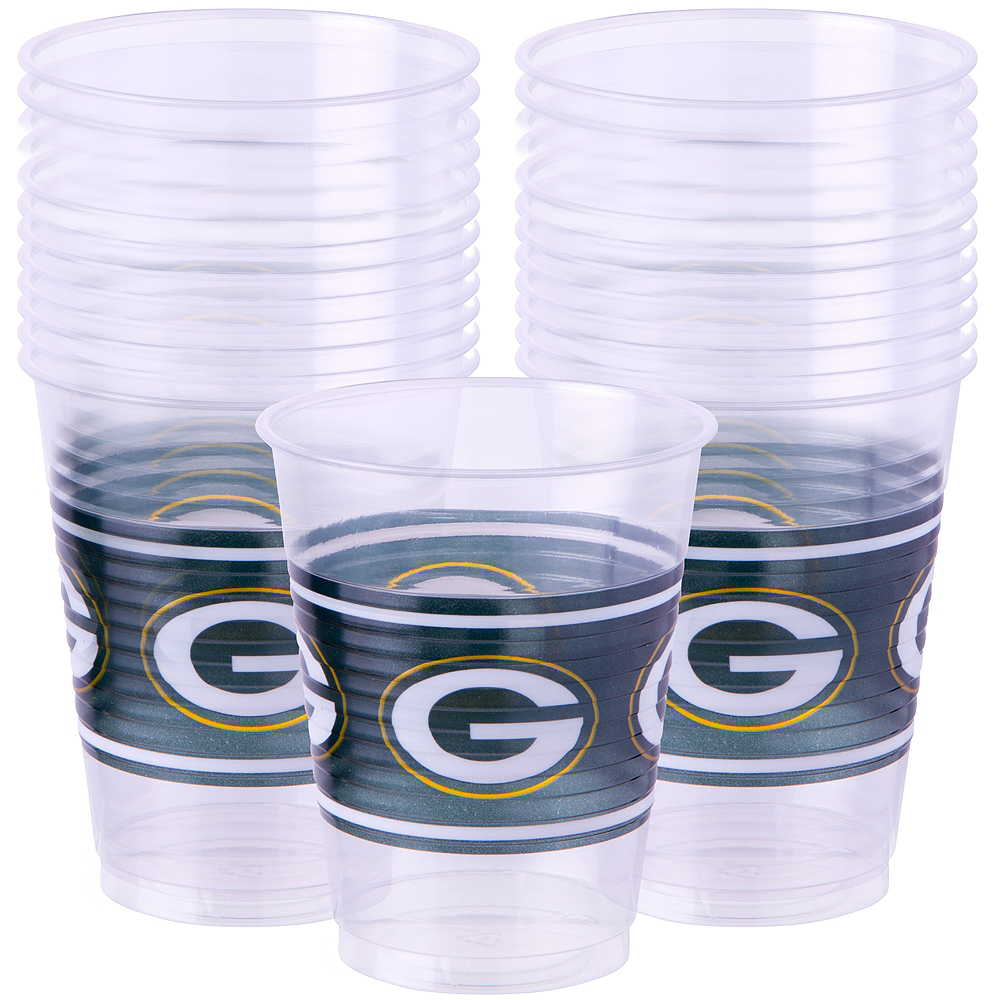 Nav Item for Green Bay Packers Plastic Cups 25ct Image #1