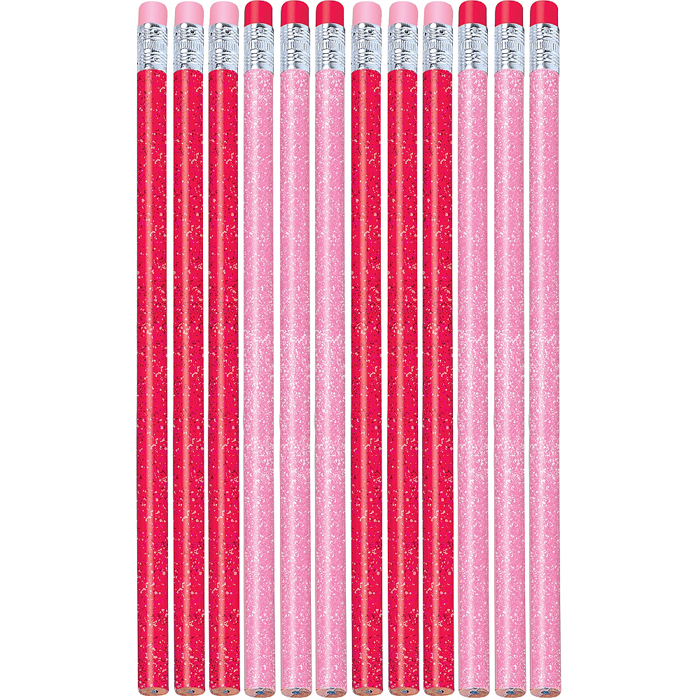 Valentine's Day Glitter Pencils 12ct Image #1