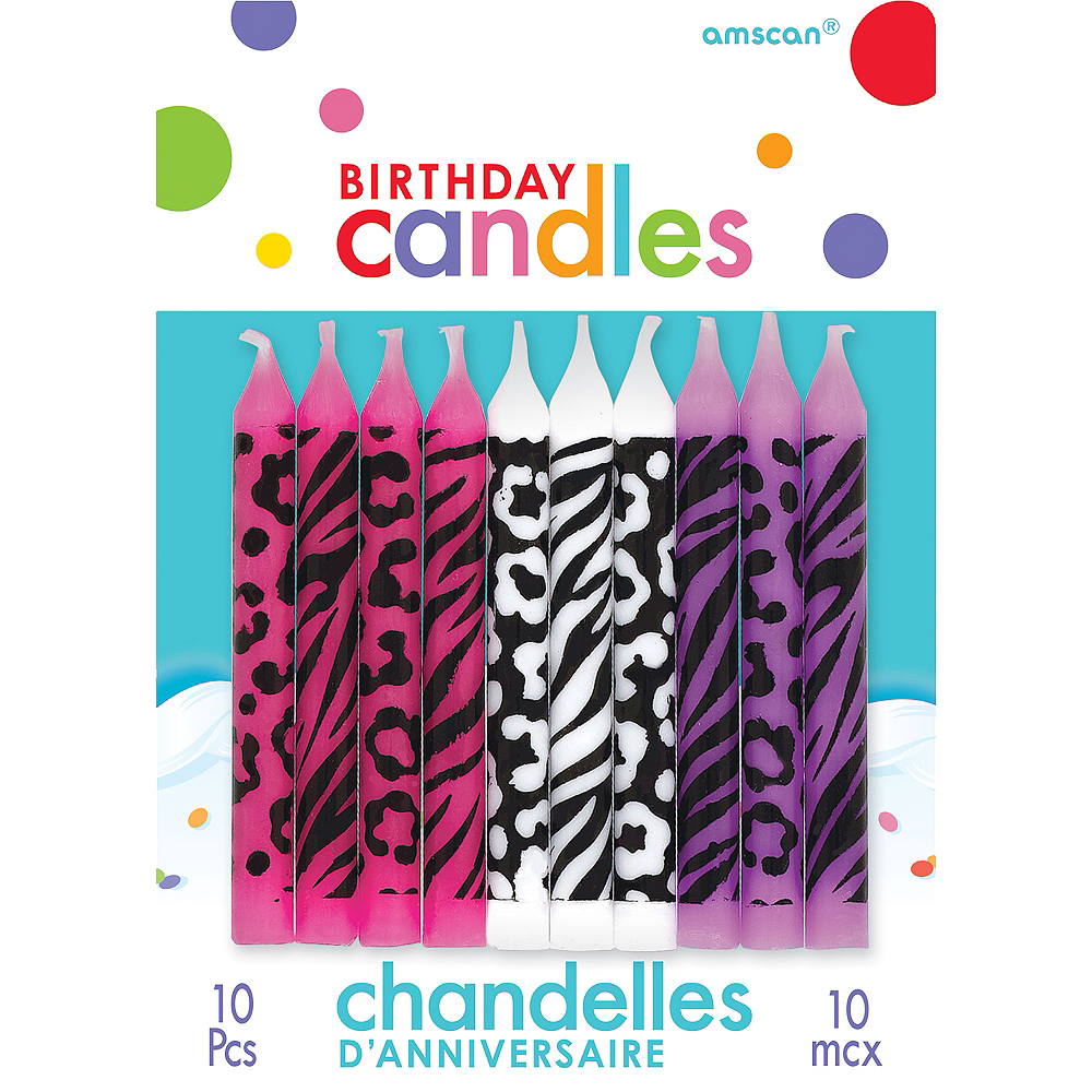 Nav Item for Animal Print Birthday Candles 10ct Image #1