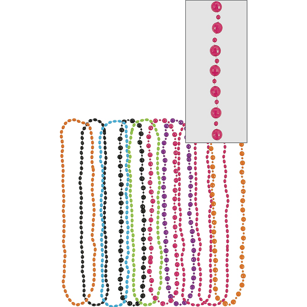 Nav Item for Multicolor 80s Bead Necklaces 10ct Image #1