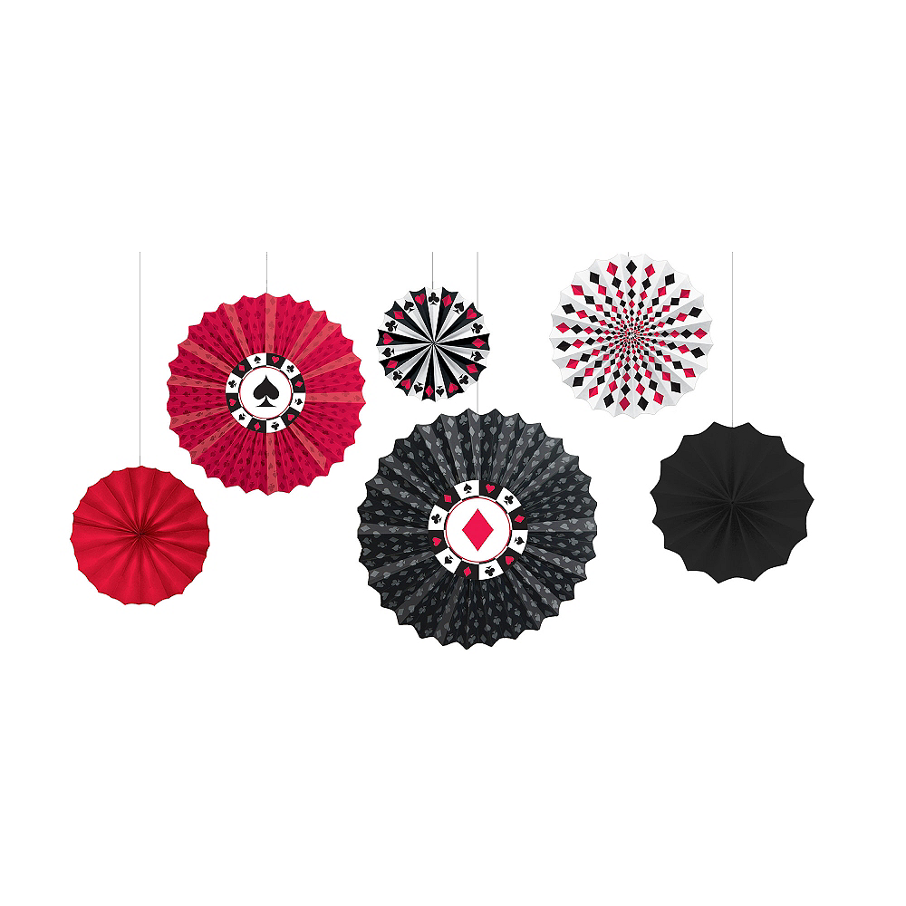 Place Your Bets Casino Paper Fan Decorations 6ct Image #1