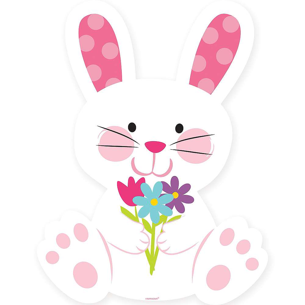Easter Bunny with Flowers Cutout Image #1