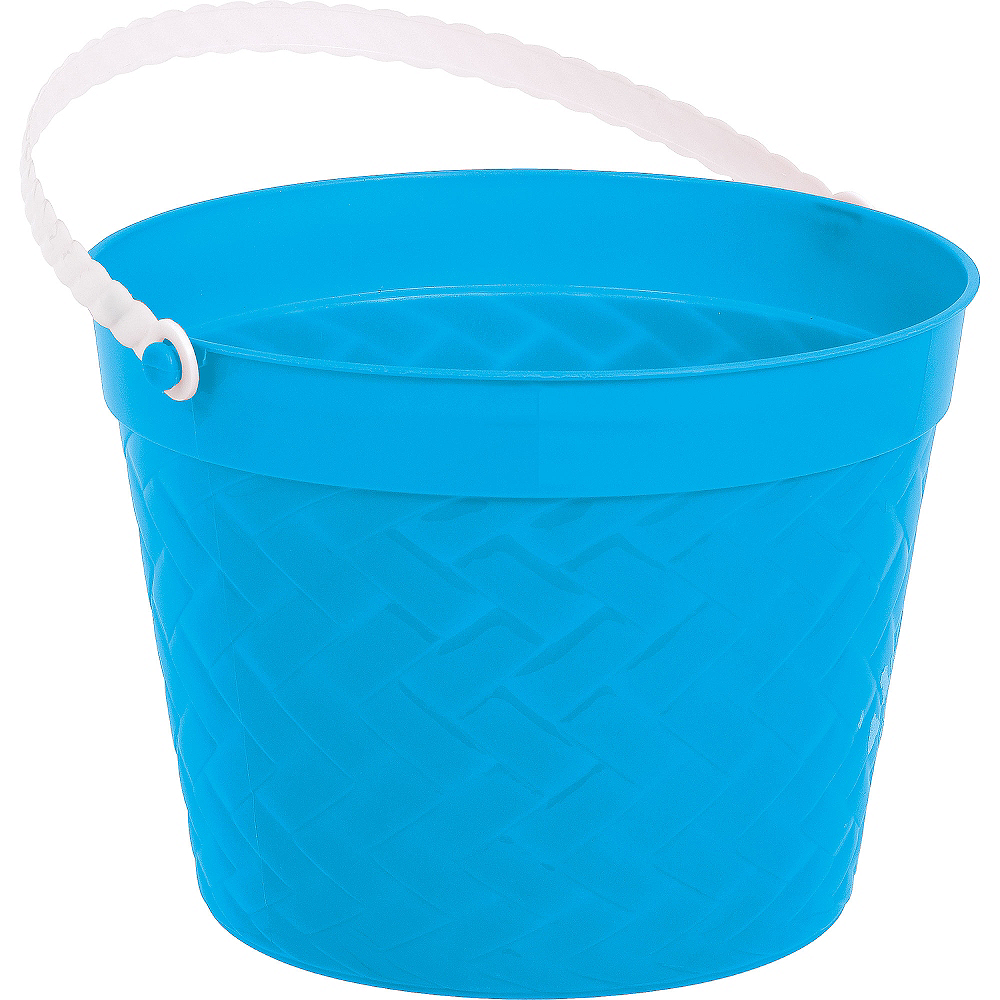 Blue Plastic Woven Easter Bucket Image #1
