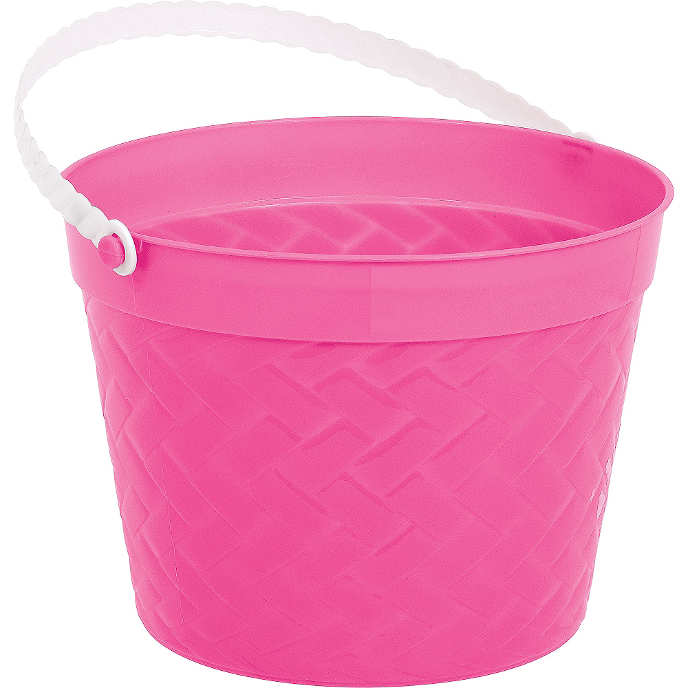 Bright Pink Plastic Woven Easter Bucket Image #1