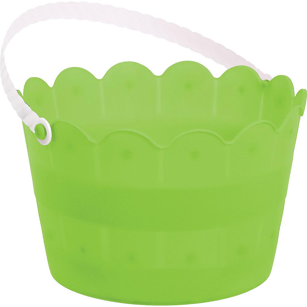 Kiwi Green Plastic Scalloped Easter Bucket Image #1