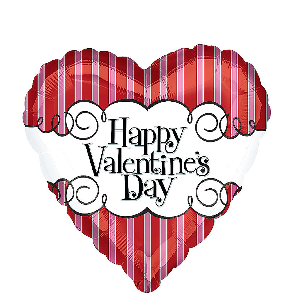 Valentine's Day Balloon - Striped Heart, 27in Image #1