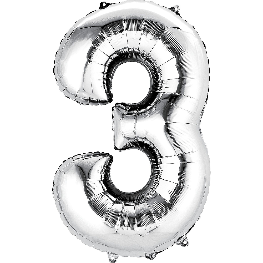 34in Silver Number Balloon (3) Image #1