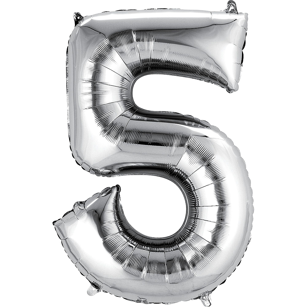 34in Silver Number Balloon (5) Image #1