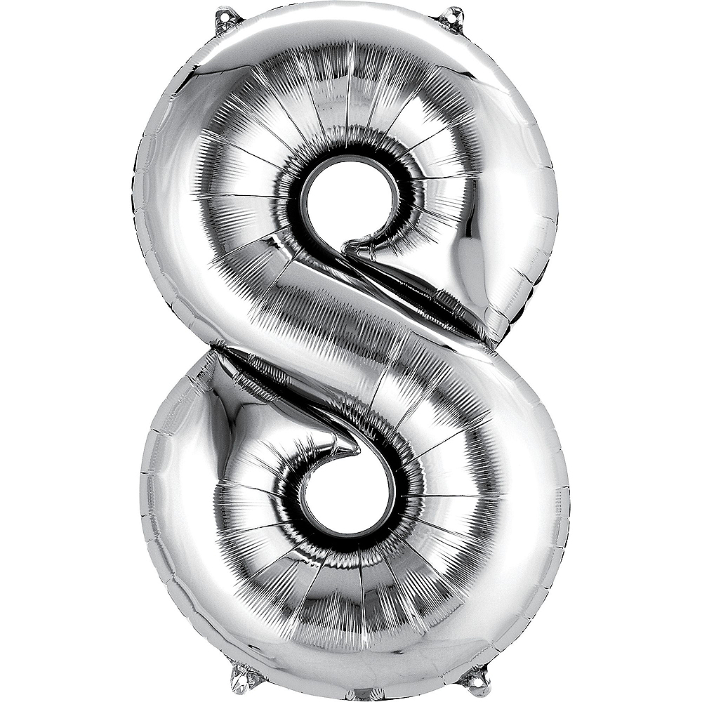 34in Silver Number Balloon (8) Image #1