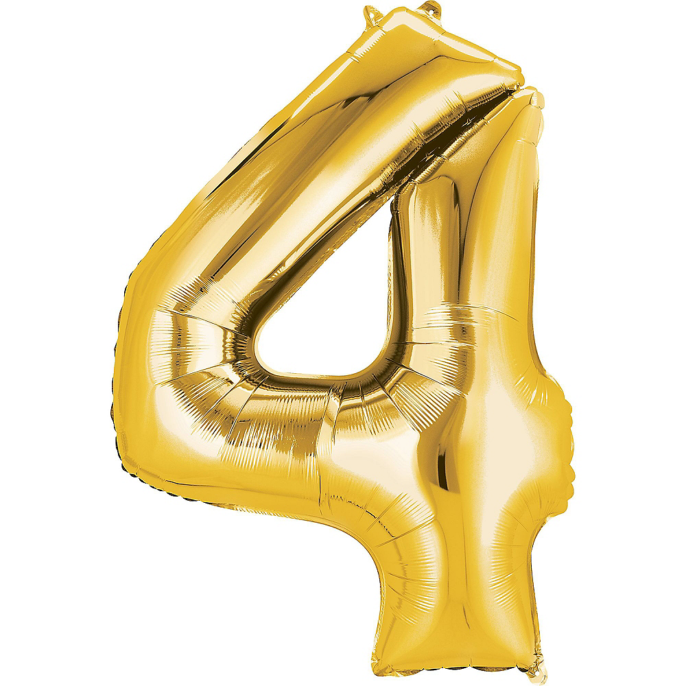 34in Gold Number Balloon (4) Image #1