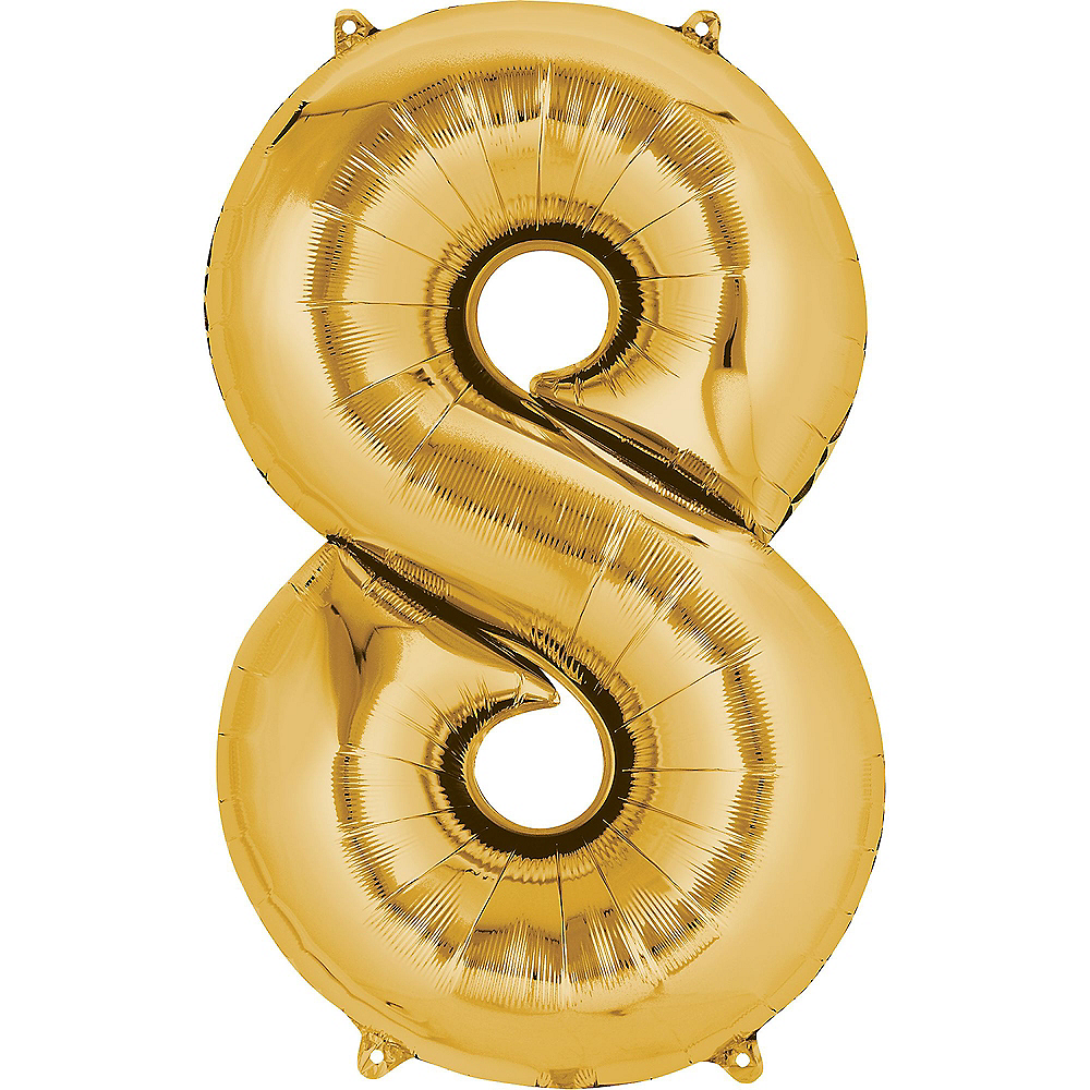 34in Gold Number Balloon (8) Image #1