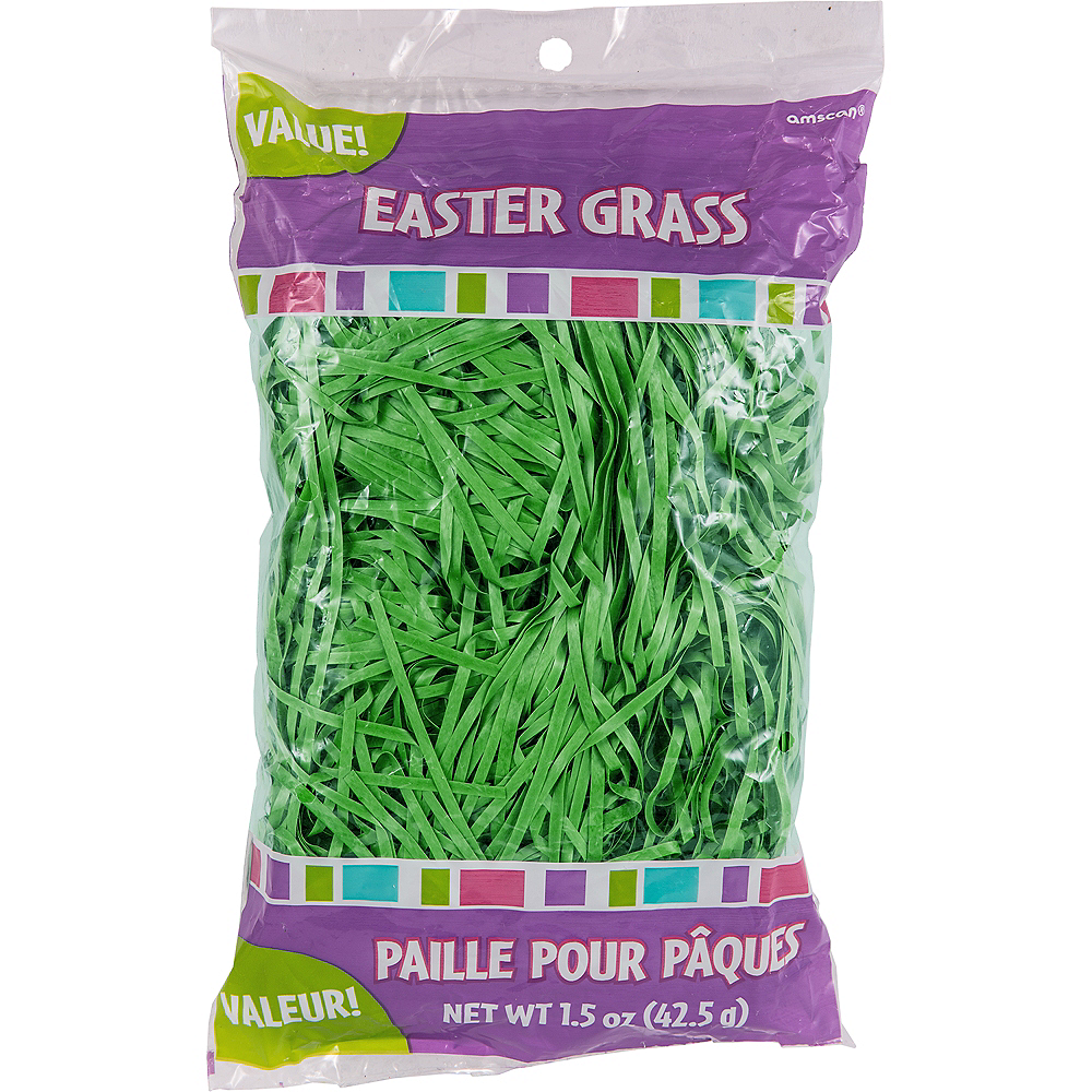 Forest Green Plastic Easter Grass Image #2