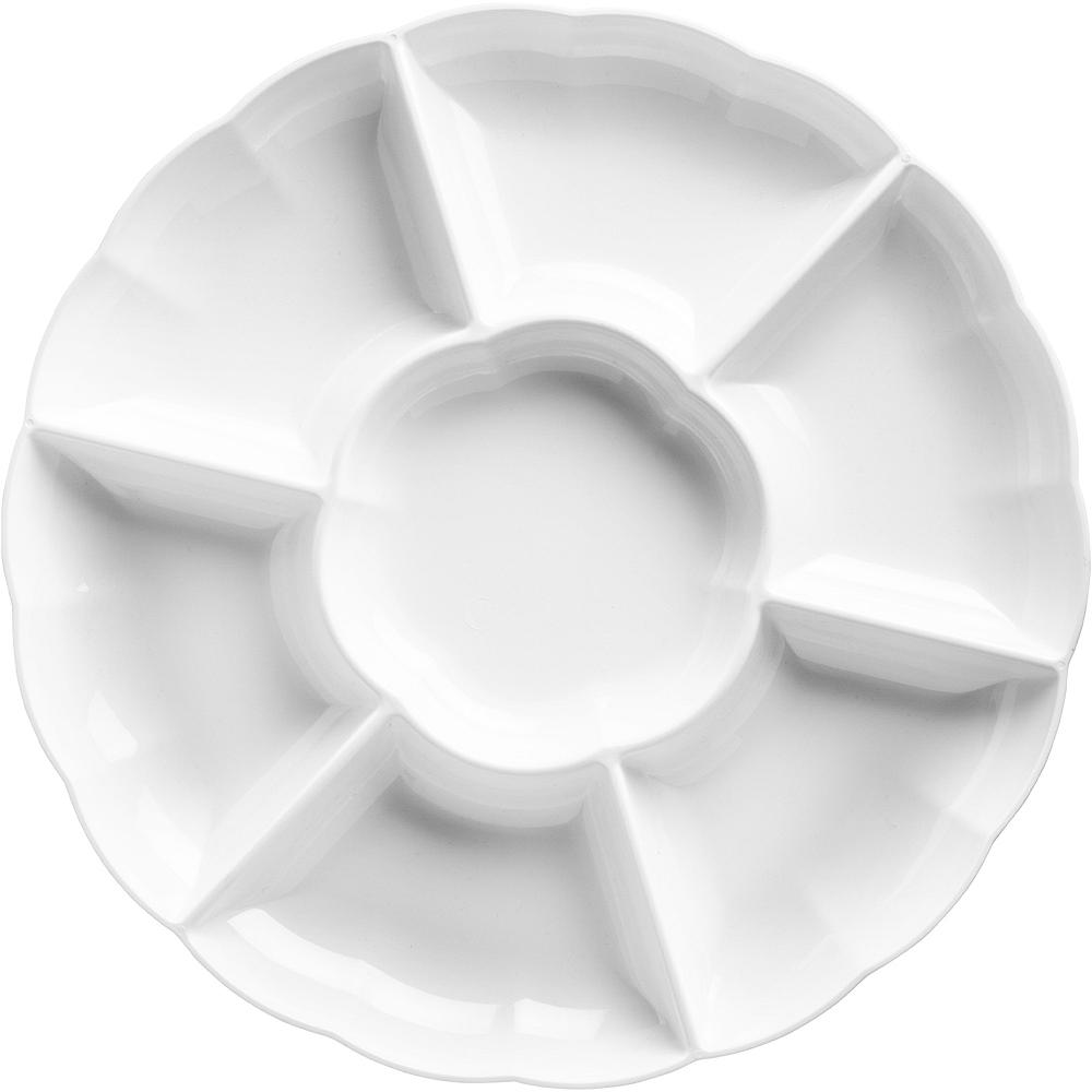 White Plastic Scalloped Sectional Platter Image #1