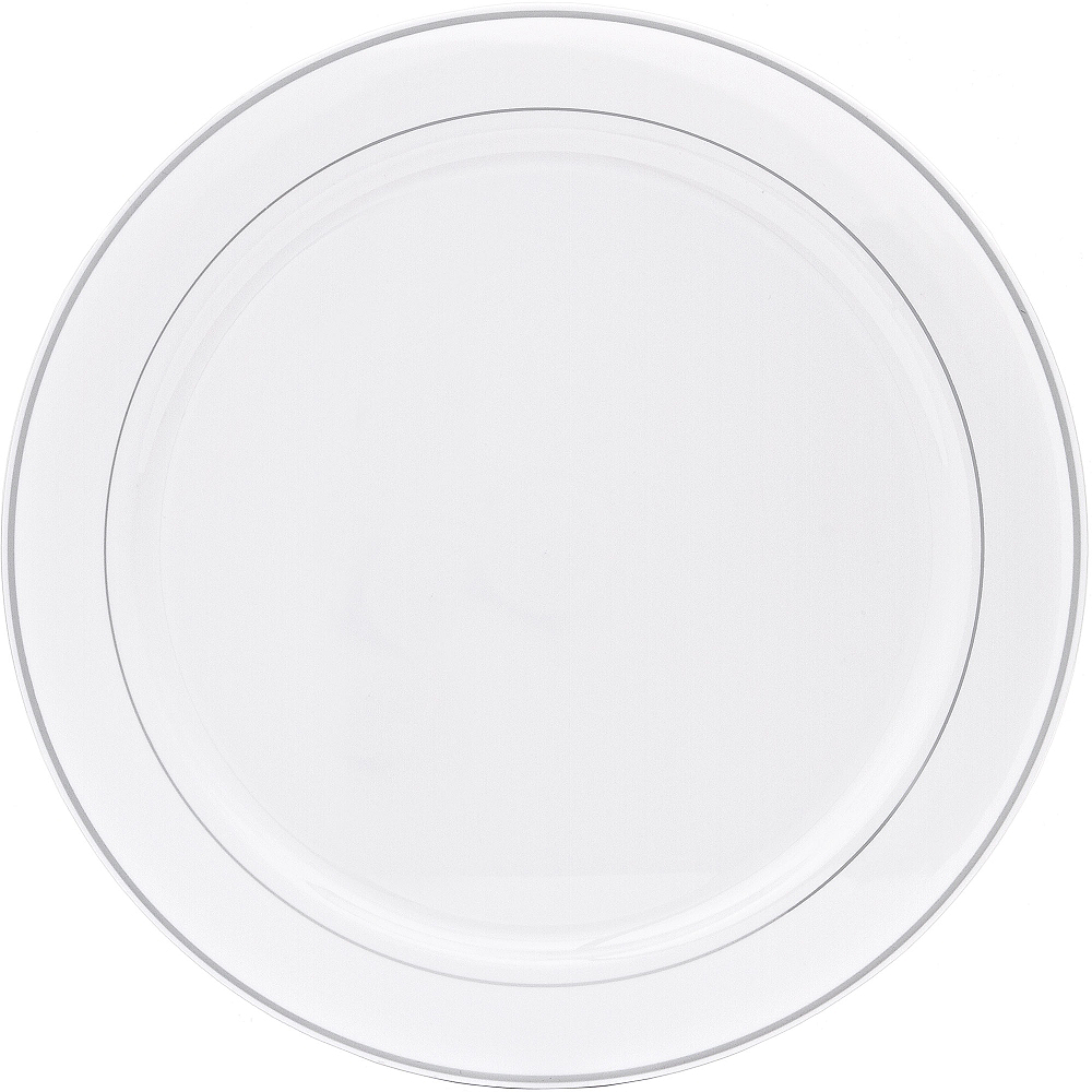 Nav Item for Silver Trimmed White Plastic Platter Image #1
