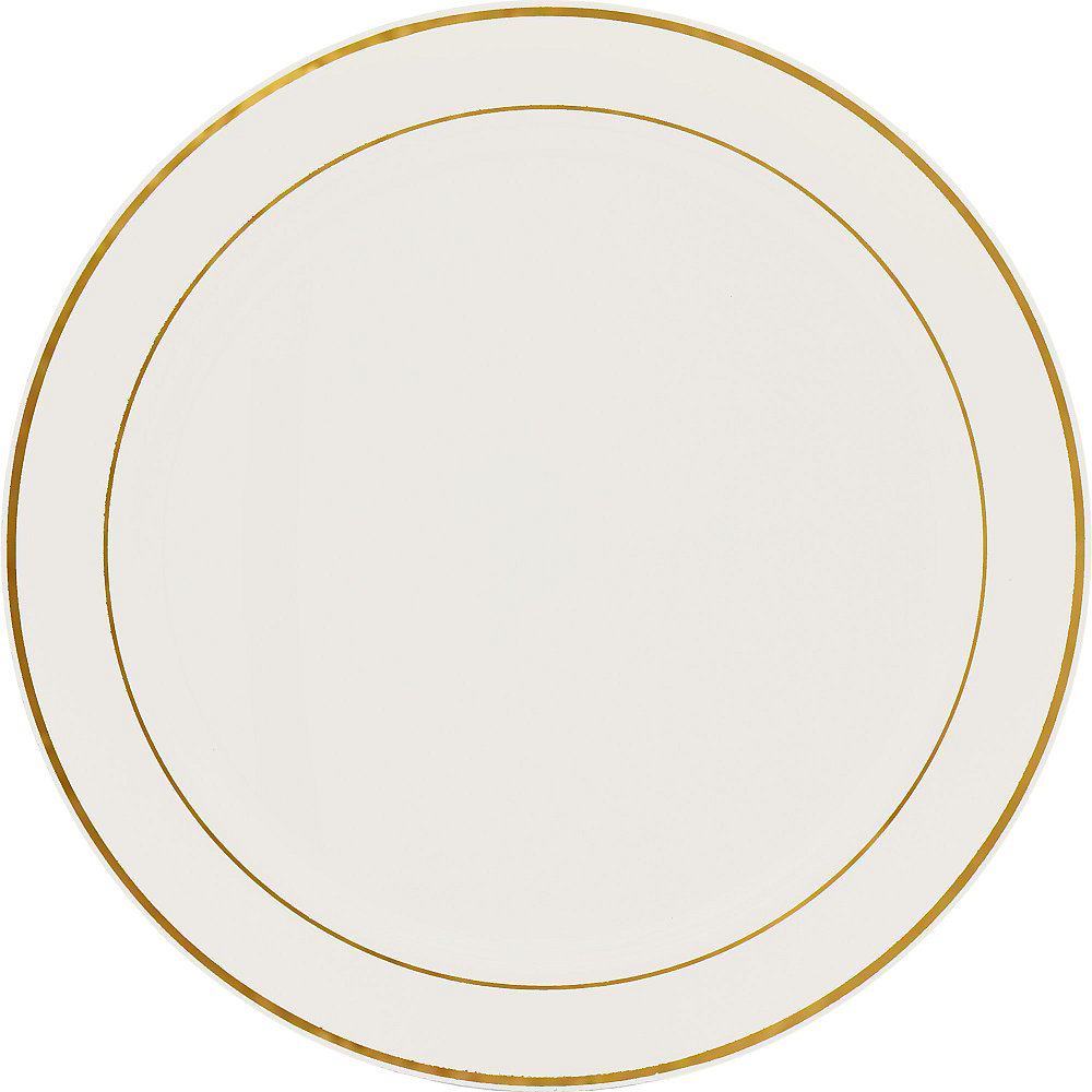Nav Item for Gold Trimmed Cream Plastic Platter Image #1