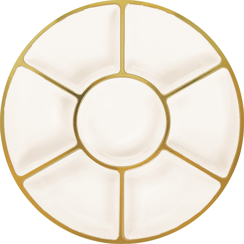 Gold Trimmed Cream Plastic Sectional Platter Image #1