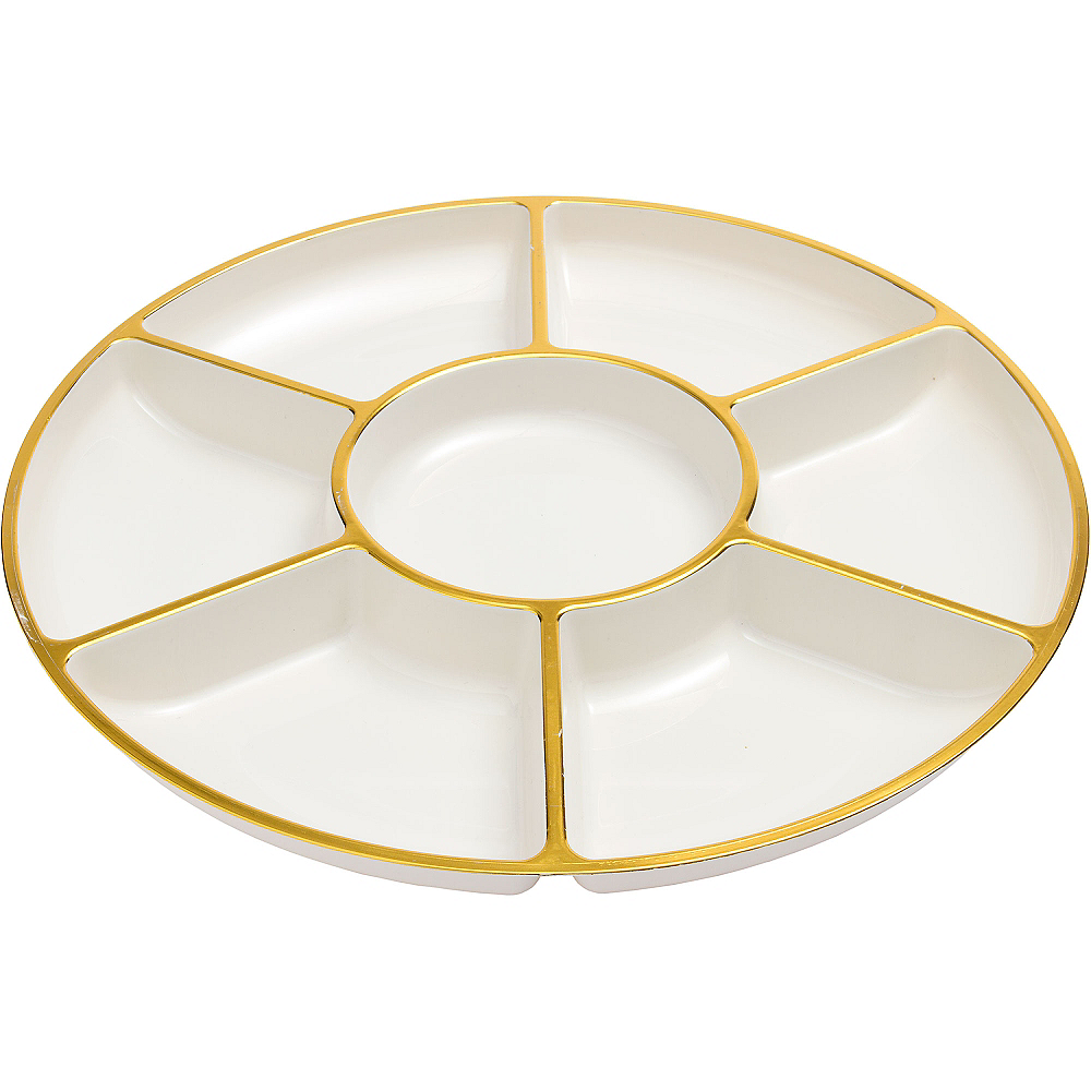 Gold Trimmed Cream Plastic Sectional Platter Image #2