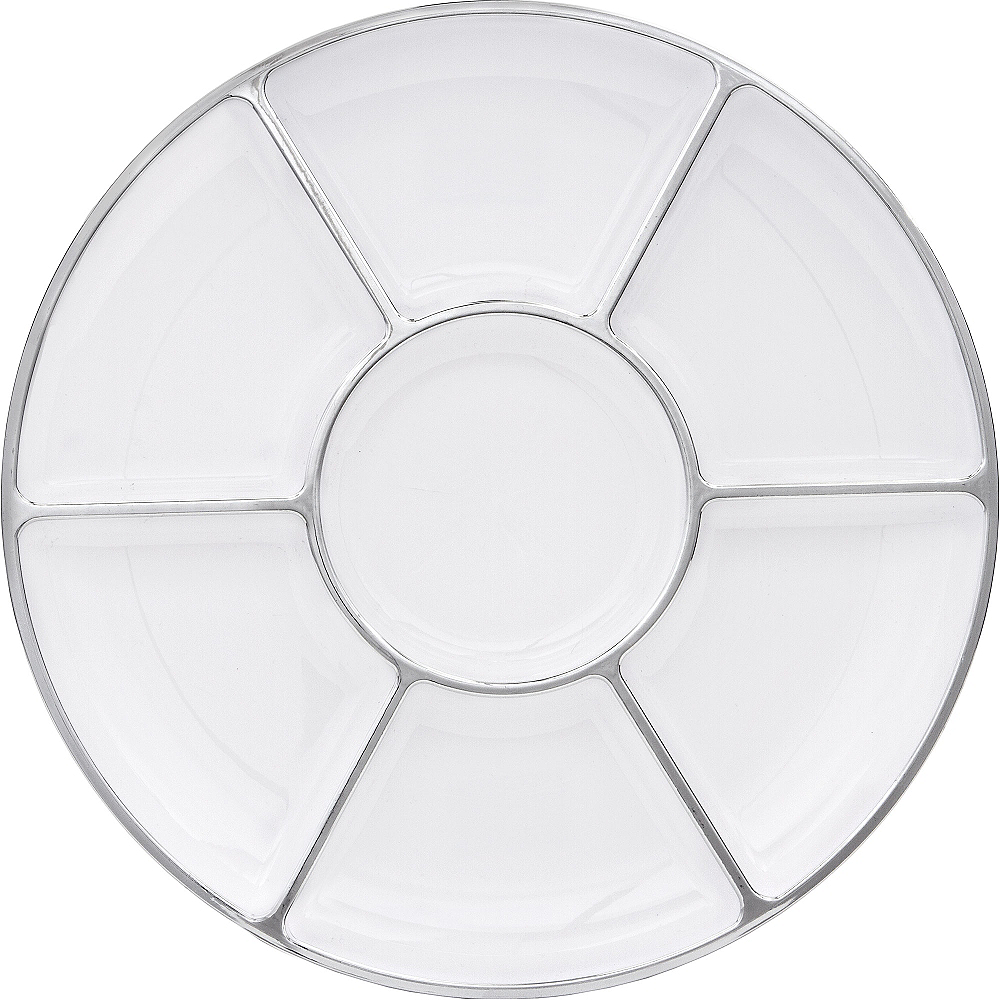 Nav Item for Silver Trimmed White Plastic Sectional Platter Image #1