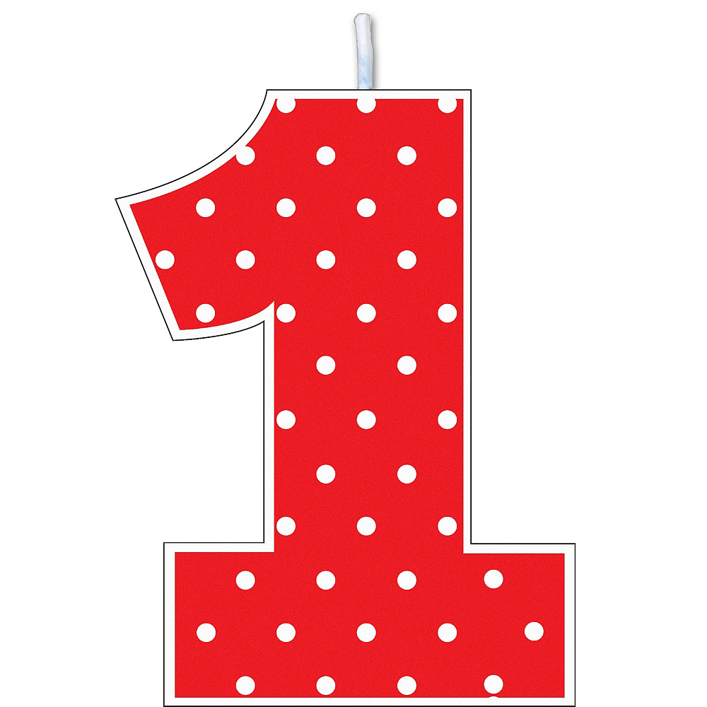 Red Polka Dot Number 1 Birthday Candle Image