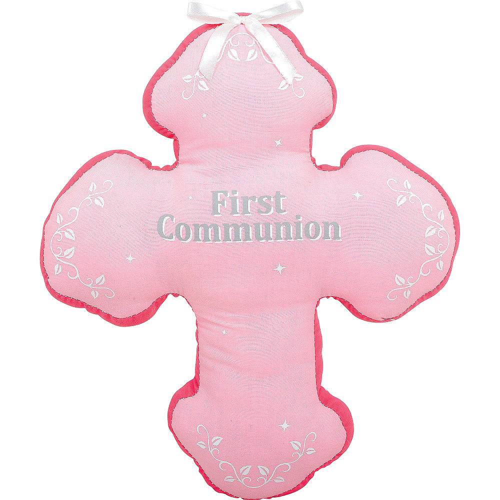 Pink First Communion Autograph Pillow Image #1