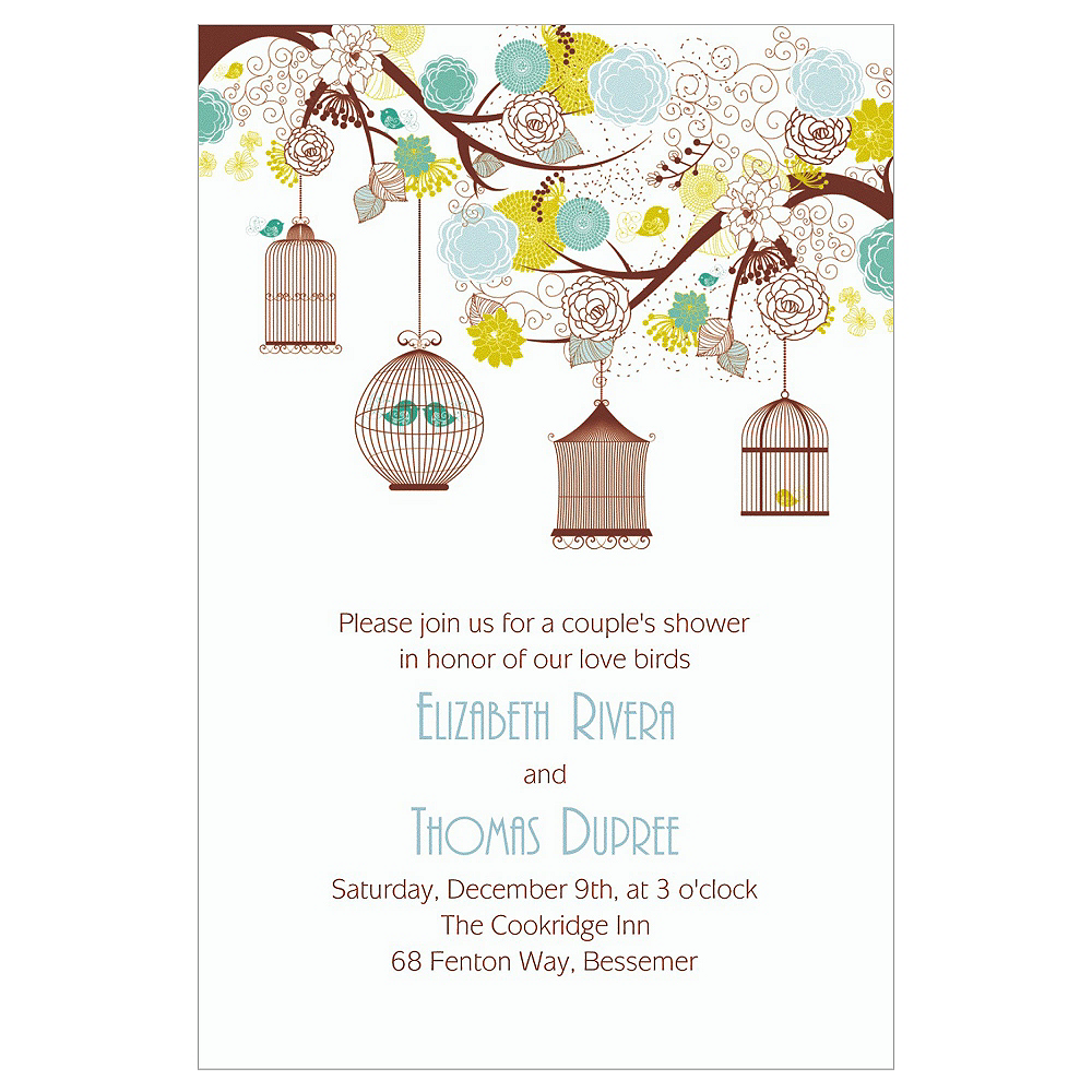 Custom Lovebird Cages Bridal Shower Invitations | Party City