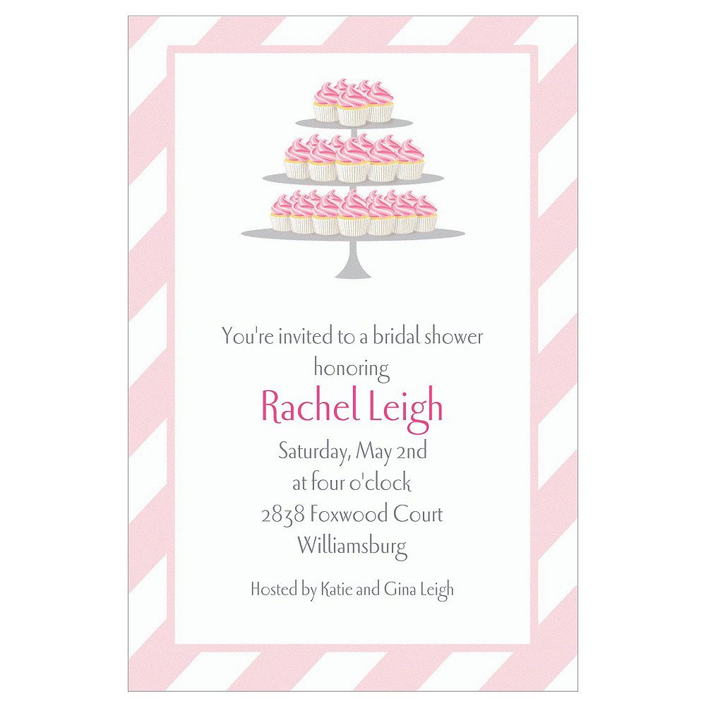 Custom Cake of Cupcakes Bridal Shower Invitations Image #1