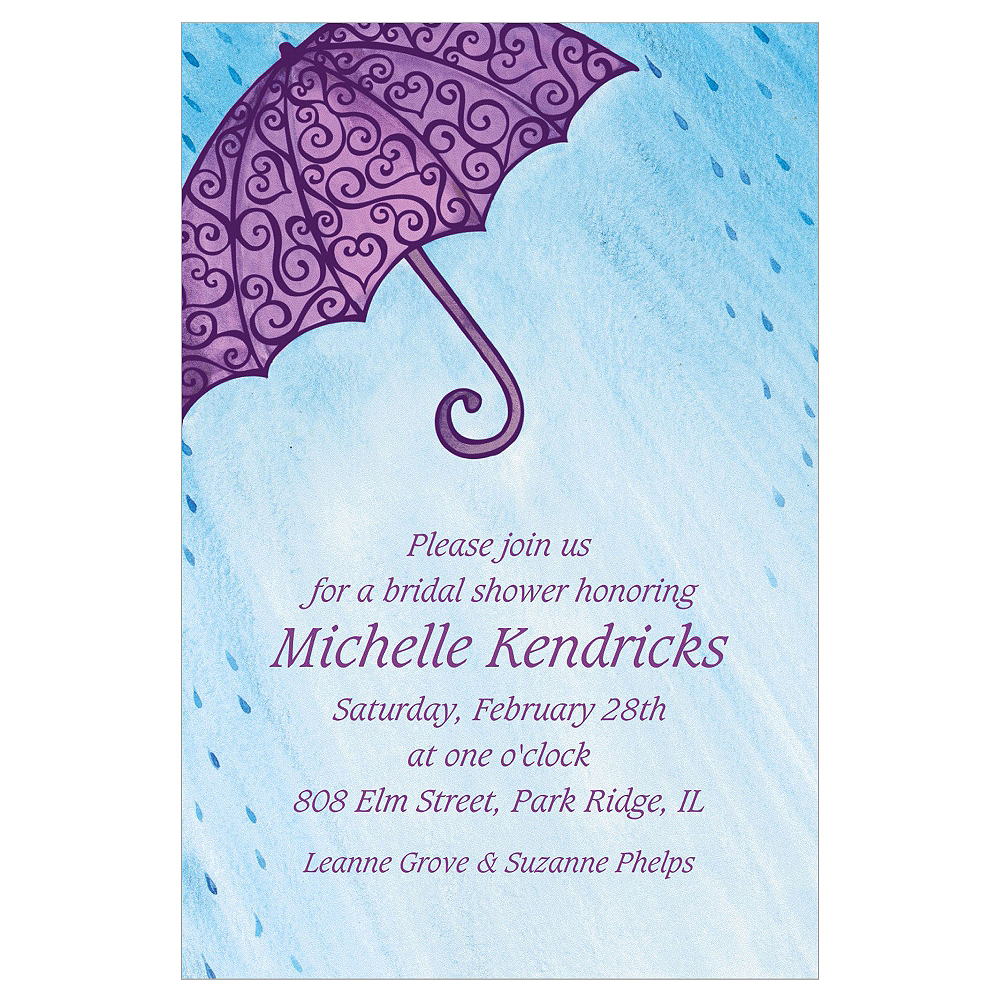 Custom Filigree Umbrella Bridal Shower Invitations Image #1