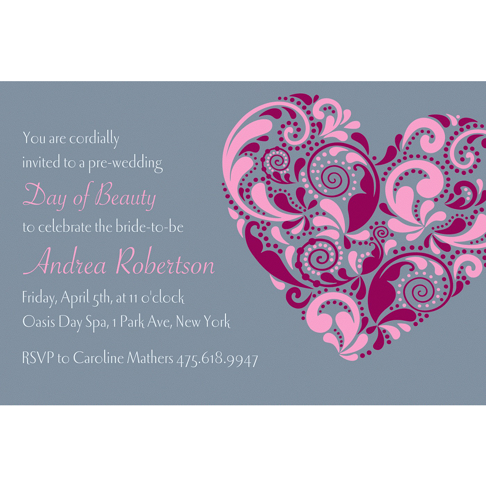 Custom Big Heart Bridal Shower Invitations Image #1