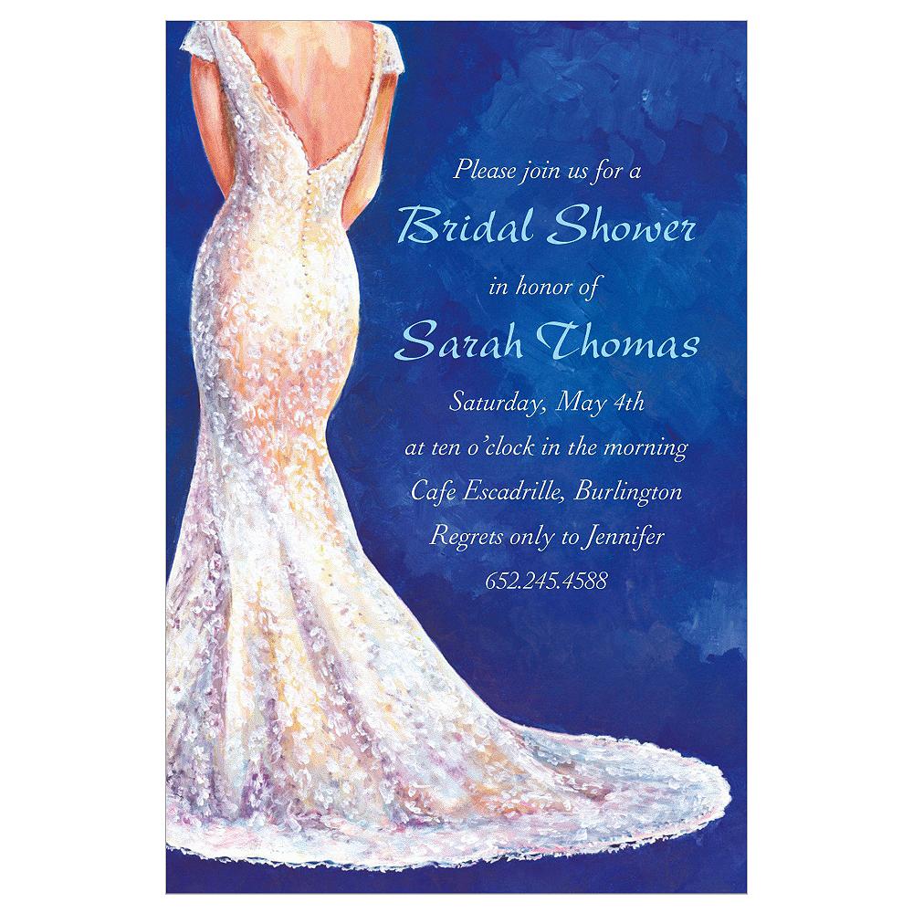 Custom Bride in Gown Dark Bridal Shower Invitations Image #1
