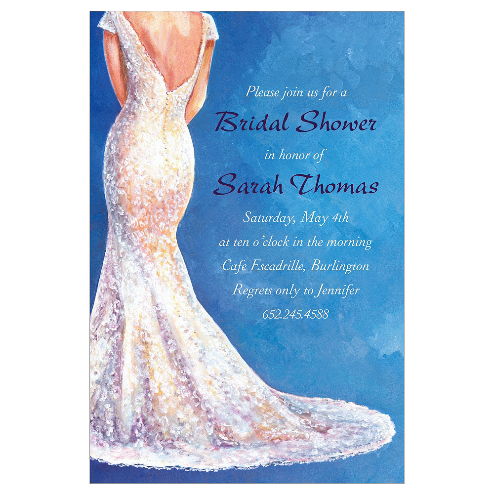 custom bride in gown light bridal shower invitations