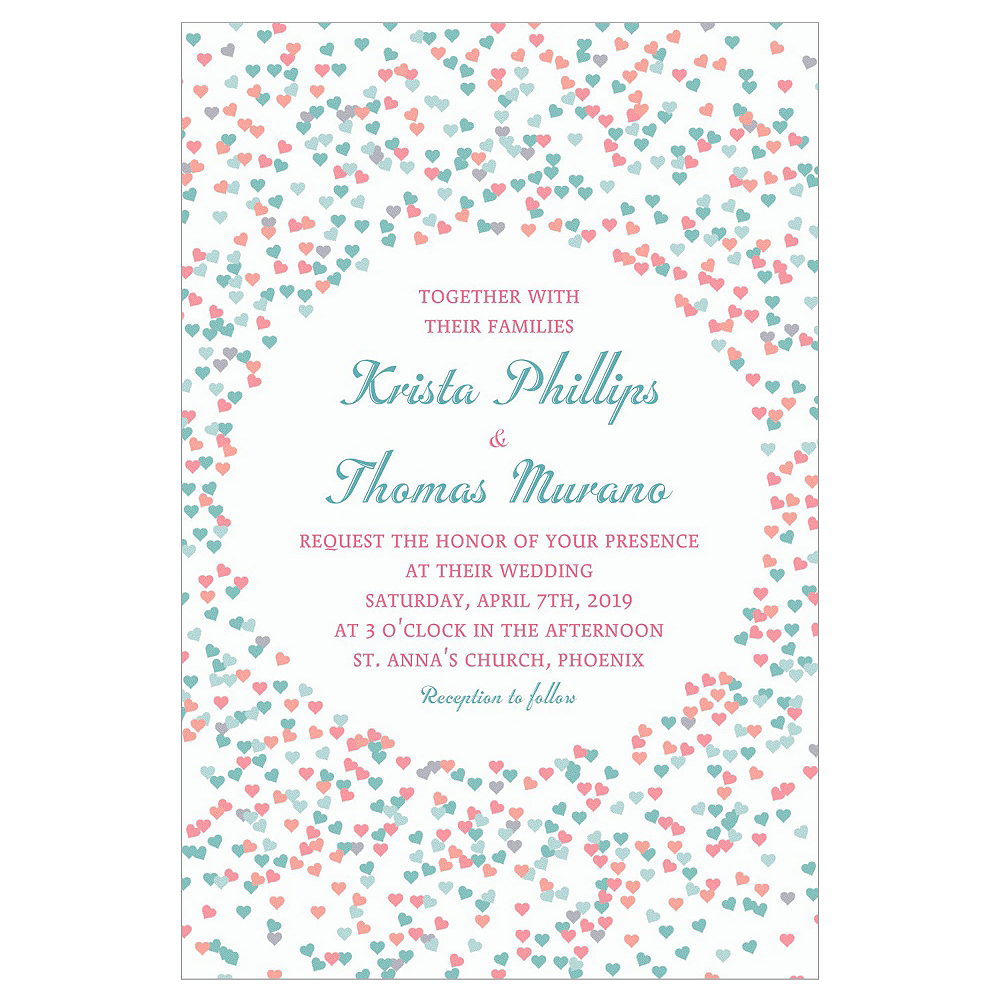 Custom Bunches of Hearts Pink Wedding Invitations Image #1